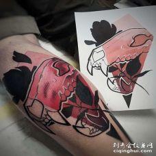 New School小腿骷髅纹身图案
