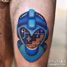 卡通小腿机器人纹身图案