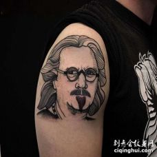 New School大臂人像纹身图案