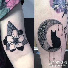New School大腿花卉月亮猫纹身图案