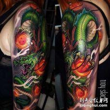 卡通大臂七龙珠神龙纹身图案