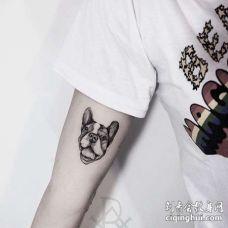 点刺大臂狗纹身图案