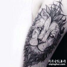 点线大臂狮子纹身图案