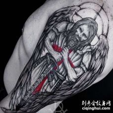 点线大臂天使纹身图案