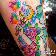New School小腿心花卉魔法棒纹身图案