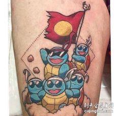 卡通大腿神奇宝贝杰尼龟纹身图案