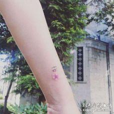 水彩小臂樱花纹身图案