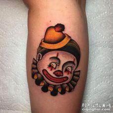 Old School小腿小丑纹身图案