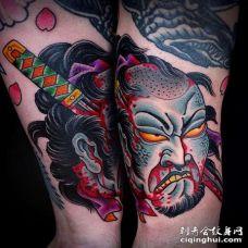 日式小臂生首匕首纹身图案