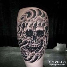 新传统小腿骷髅海浪纹身图案