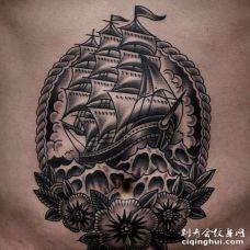 Old School腹部帆船纹身图案