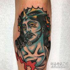 Old School小腿耶稣纹身图案