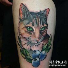 New School大腿猫纹身图案