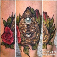 New School小腿眼睛玫瑰纹身图案