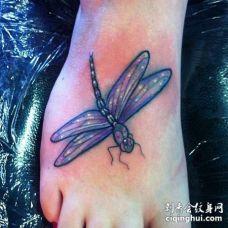 New School脚背蜻蜓纹身图案