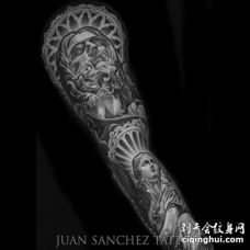 写实胳膊雕像纹身图案