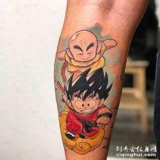 卡通小腿七龙珠孙悟空克林纹身图案