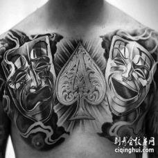 前胸小丑黑桃纹身图案