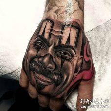 写实手背人像纹身图案