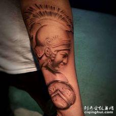 写实小臂角斗士纹身图案