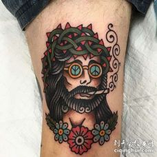 Old School大腿耶稣纹身图案