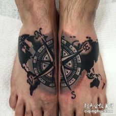 Old School脚背指南针纹身图案