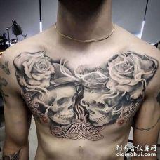 写实前胸骷髅纹身图案