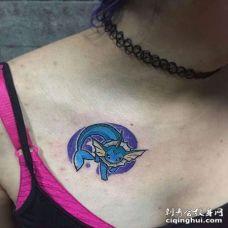 卡通锁骨神奇宝贝伊布纹身图案