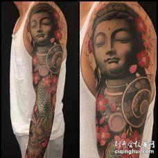 新传统胳膊佛龙纹身图案