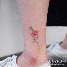 小清新脚踝玫瑰纹身图案