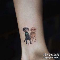 小清新脚踝狗纹身图案