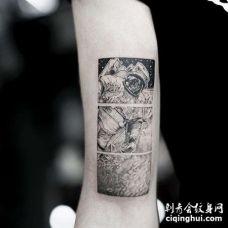 点刺大臂宇航员纹身图案