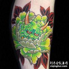 日式小腿牡丹夜叉纹身图案