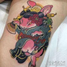 日式大腿兔子纹身图案