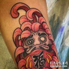 新传统小腿达摩菊花纹身图案