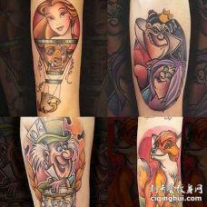 卡通小臂美女与野兽纹身图案