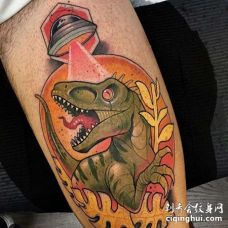 New School小腿恐龙纹身图案