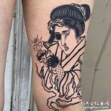 日式大腿艺伎纹身图案