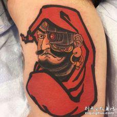 日式大腿达摩纹身图案
