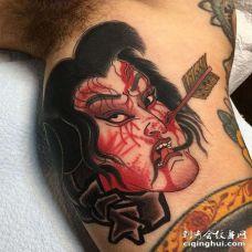 日式大臂生首纹身图案