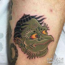 日式大腿夜叉纹身图案