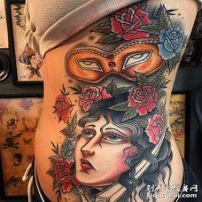 Old School侧腰女人纹身图案