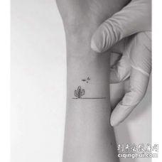 小清新小臂仙人掌纹身图案