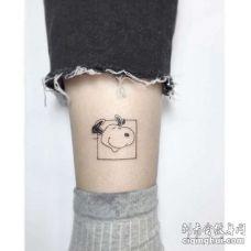 小清新小腿线条史努比纹身图案