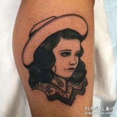 New School小腿女人纹身图案