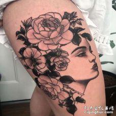 New School大腿女人玫瑰纹身图案