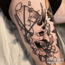 新传统大腿般若骷髅菊花纹身图案