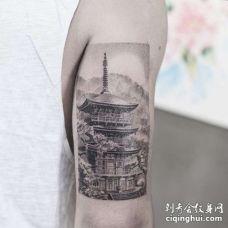 写实大臂建筑纹身图案