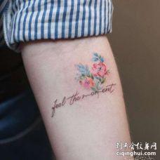 小清新小臂字母花卉纹身图案