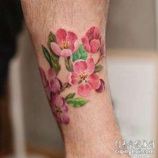 水彩小腿樱花纹身图案